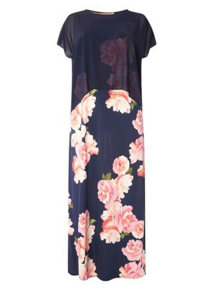 Navy Blue Chiffon Floral Maxi Dress, Bright Multi
