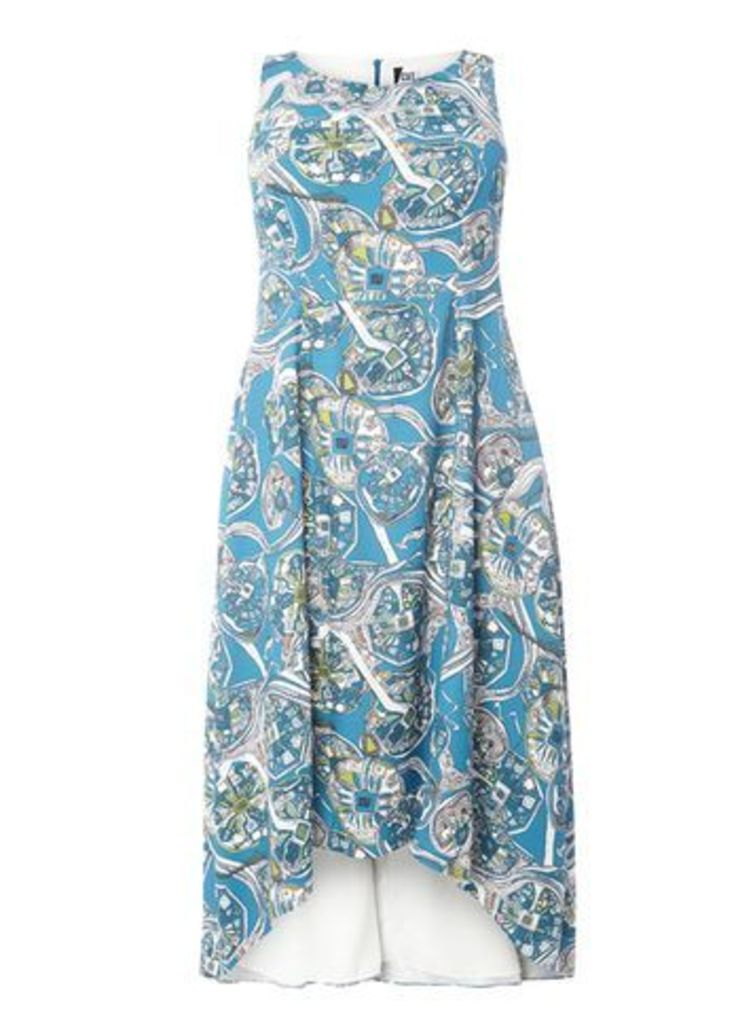 Cut For Evans Printed High-Low Dress, Bright Multi