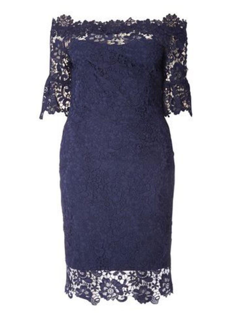 Paper Dolls Navy Blue Bardot Dress, Navy