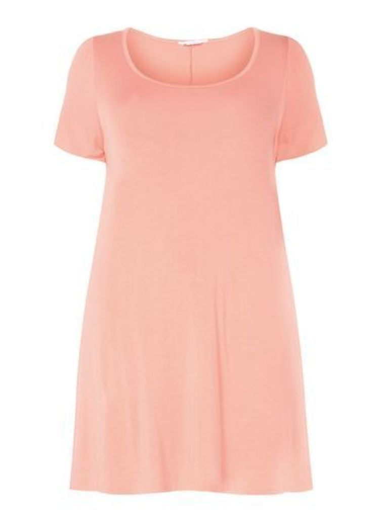 Coral Pink Short Sleeved Tunic, Coral