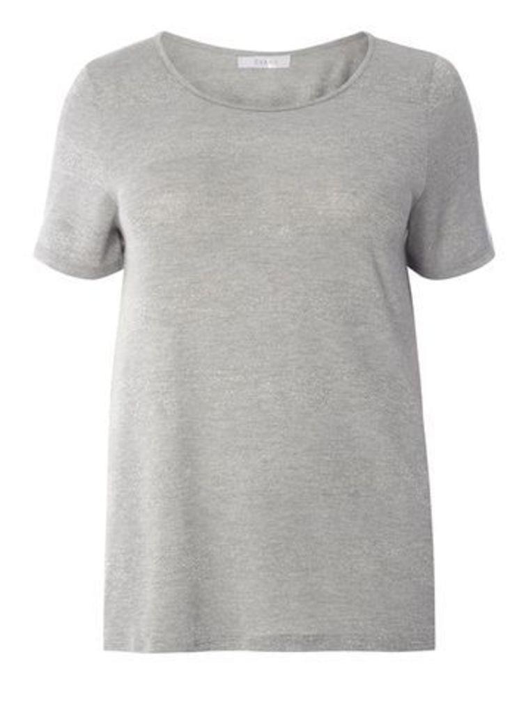 Premium Grey Glitter Stripe T-Shirt, Grey