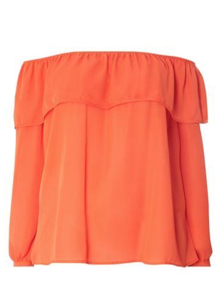 Lovedrobe Orange Ruffle Bardot Top, Orange
