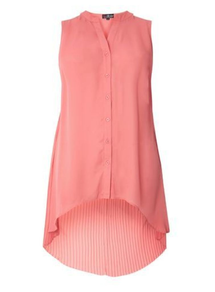 Lovedrobe Coral Pleat Back Shirt, Coral