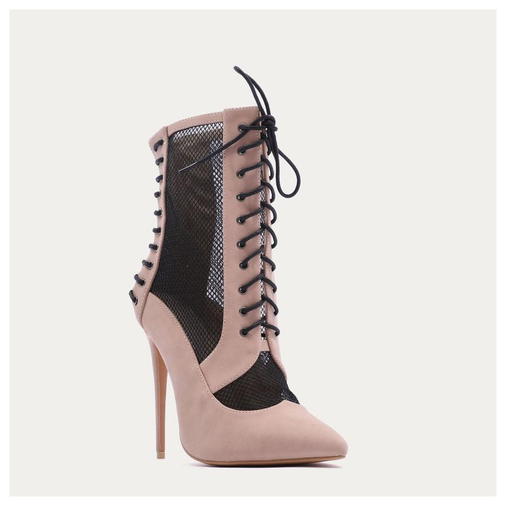 Eshal Lace Up Mesh Detail Pointed Toe Ankle Boots in Blush, Pink