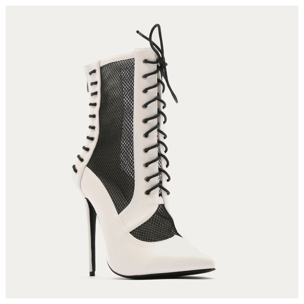 Eshal Lace Up Mesh Detail Pointed Toe Ankle Boots, White