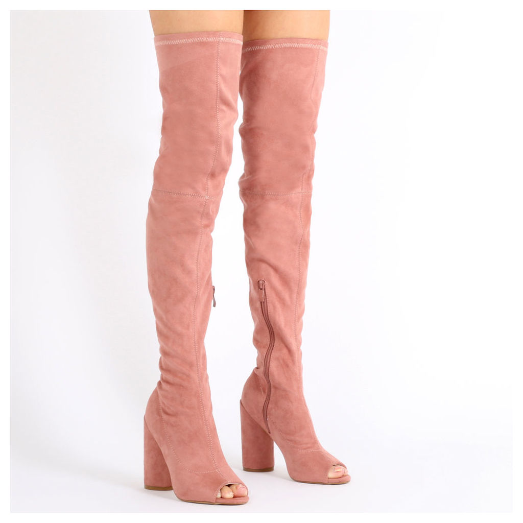 Jana Over the Knee Peeptoe Boots in Rose Faux Suede, Red