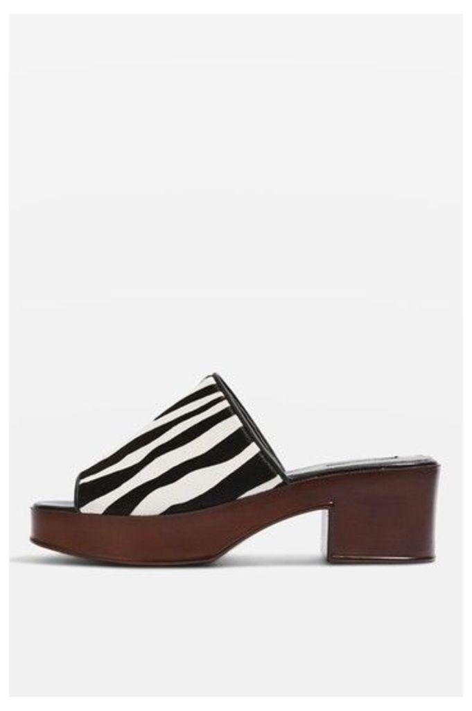 Womens VILLAIN Zebra Mules - Monochrome, Monochrome