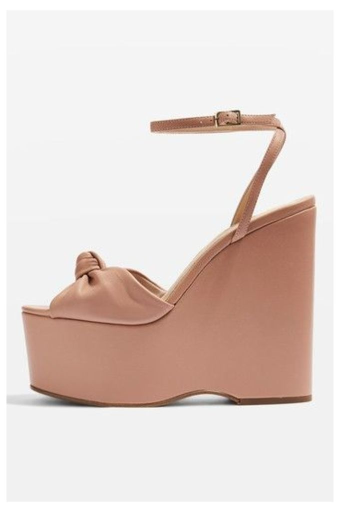 Womens WALTZ Knot Wedges - Nude, Nude