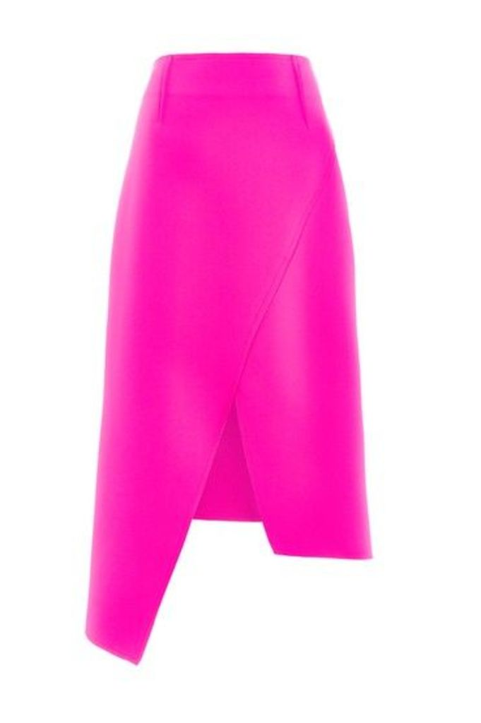 Womens High Waisted Midi Wrap Skirt - Pink, Pink