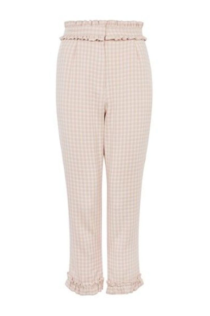 Womens Ruffle Waist Gingham Trousers - Pale Pink, Pale Pink