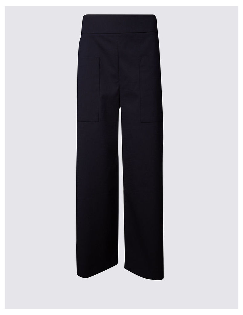 M&S Collection Cotton Rich Cropped Wide Leg Trousers