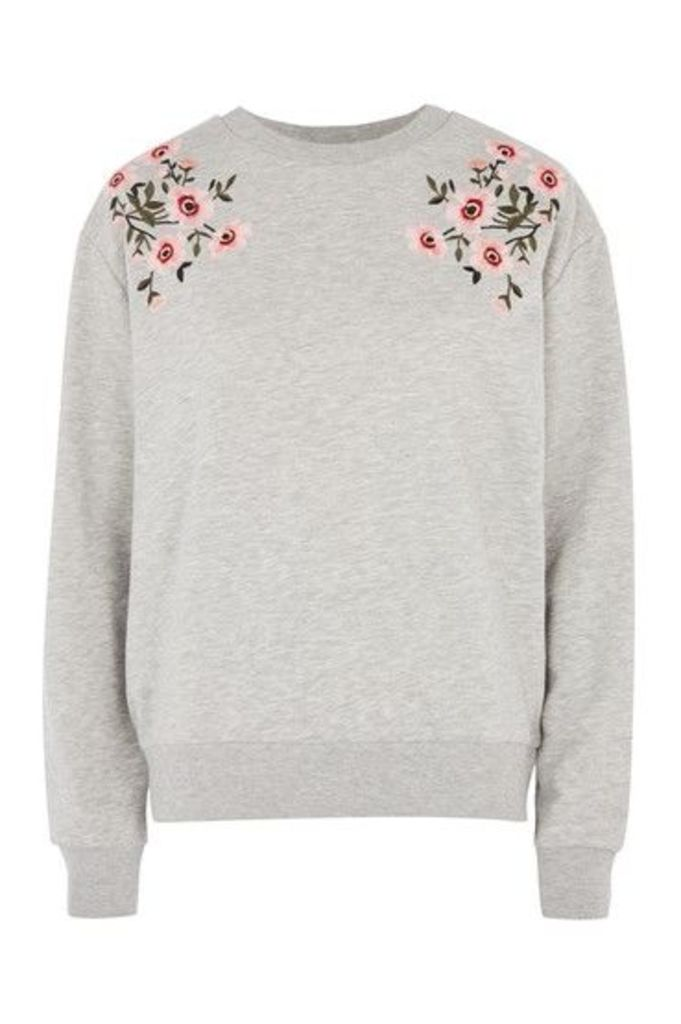 Womens PETITE Embroidered Sweat Top - Grey Marl, Grey Marl