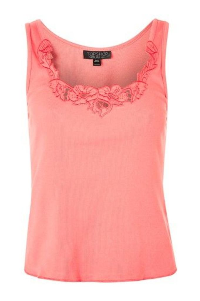Womens Embroidered Vest - Pink, Pink