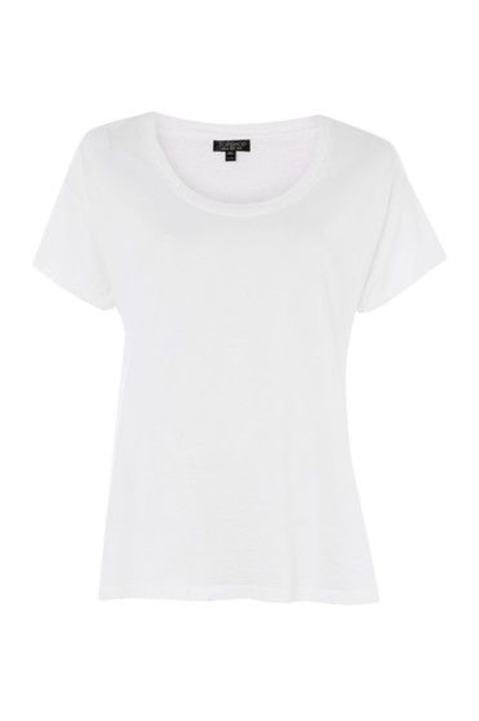 Womens Washed Scoop Neck T-Shirt - White, White