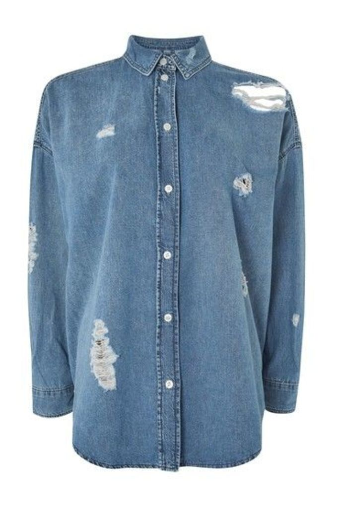 Womens MOTO Ripped Denim Oversized Shirt - Mid Stone, Mid Stone