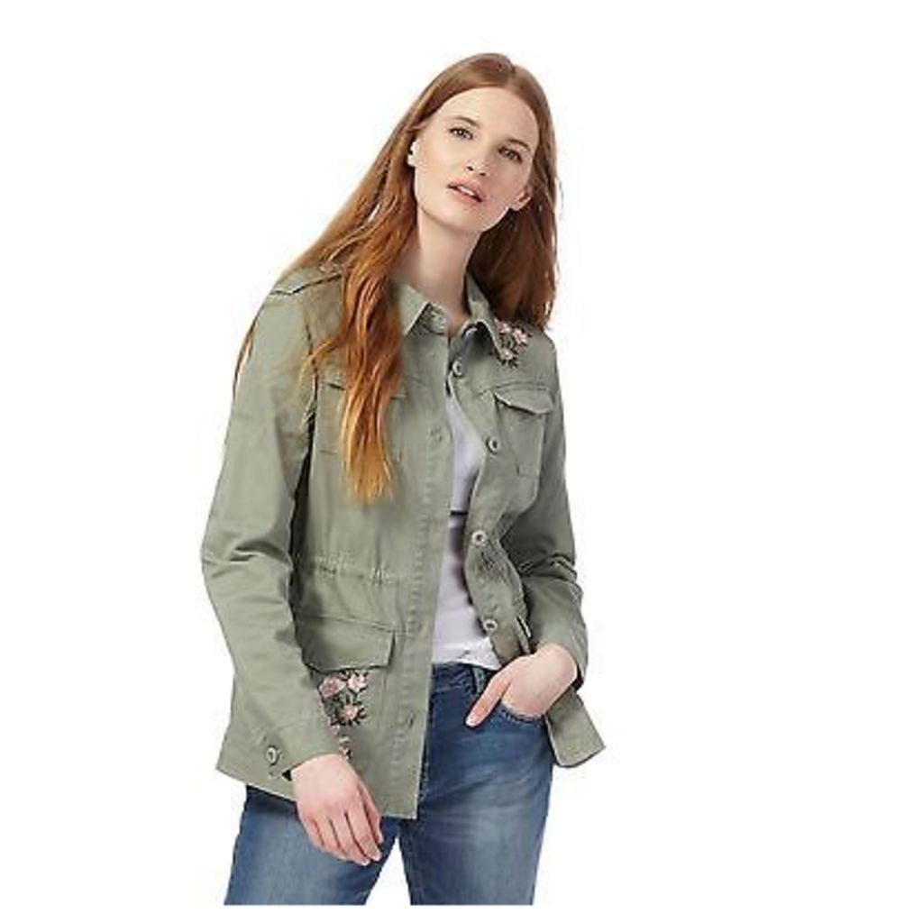 The Collection Womens Khaki Floral Embroidered Utility Jacket From Debenhams