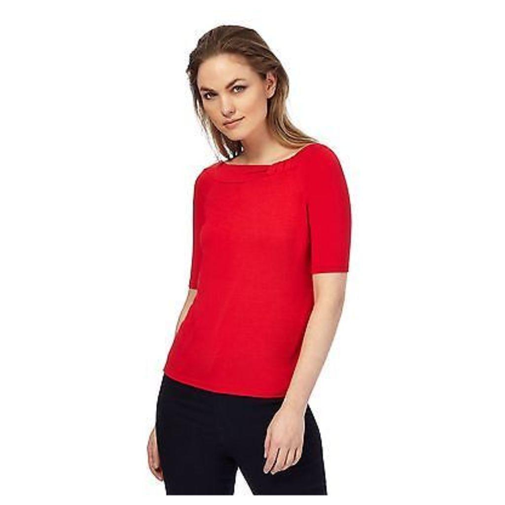 Principles By Ben De Lisi Womens Red 'Bardot' Knot Detail Jersey Top