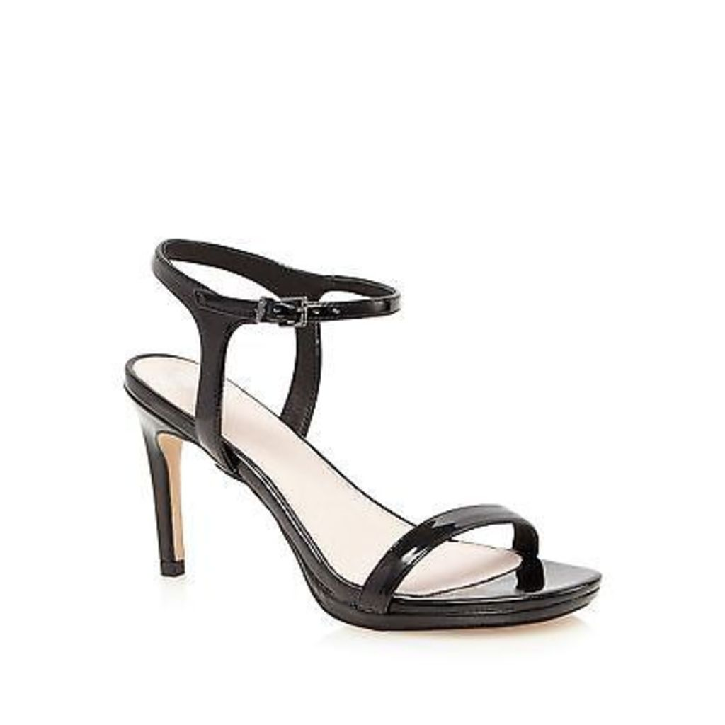 Faith Black Patent 'Dolly' High Heel Wide Fit Ankle Strap Sandals From Debenhams