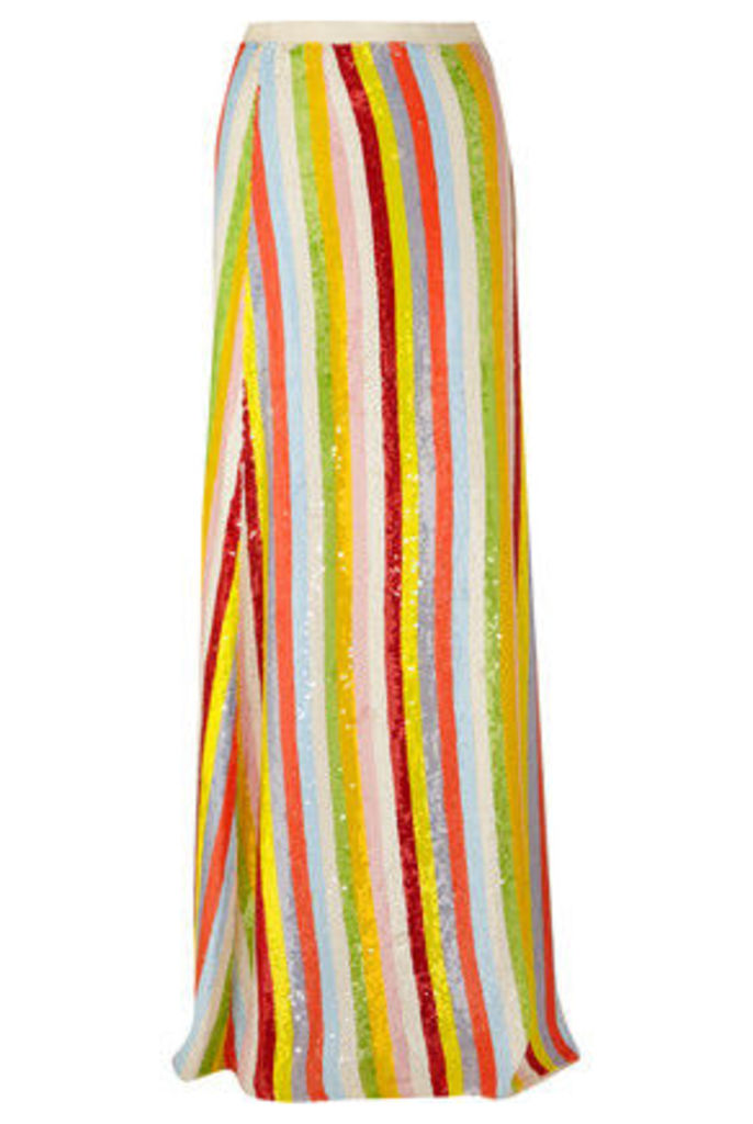J.Crew - Collection Striped Sequined Silk-georgette Maxi Skirt - Orange