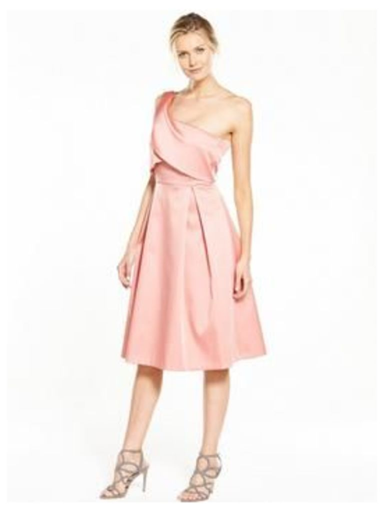 V by Very Bonded Satin One Shoulder Dress, Peach, Size 18, Women