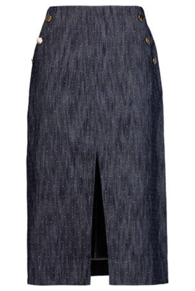 Tanya Taylor - Ines Embroidered Denim Midi Skirt - Dark denim