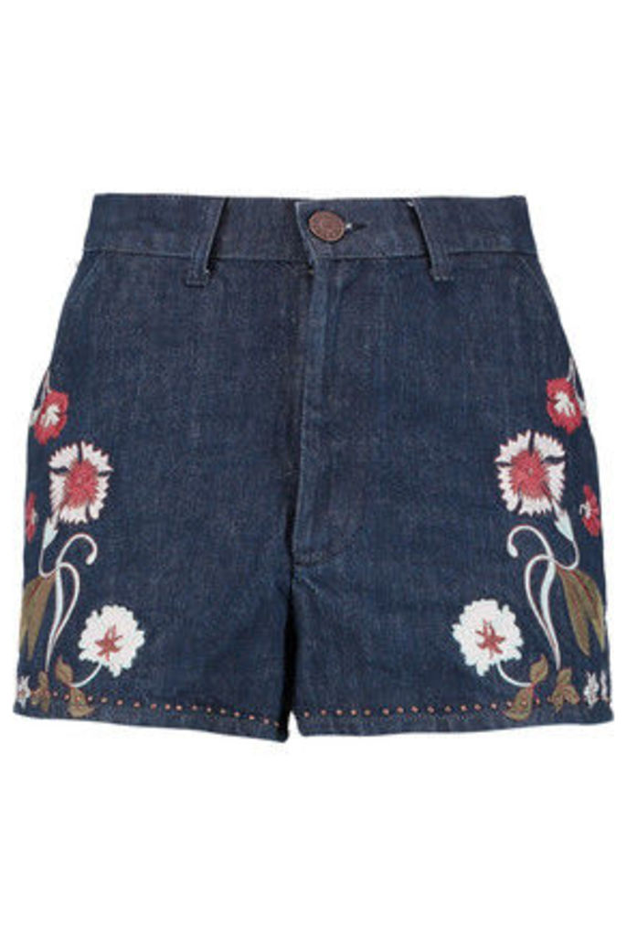 Sandro - Embroidered Denim Mini Shorts - Mid denim