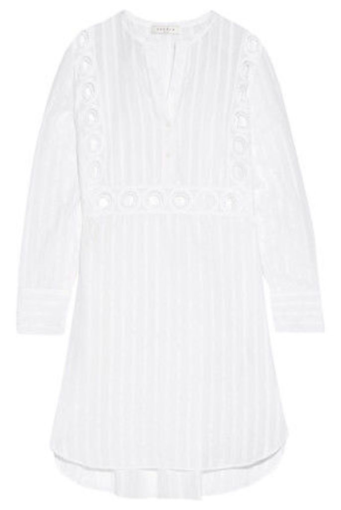 Sandro - Rebella Lace-paneled Pinstriped Cotton-blend Mini Dress - White