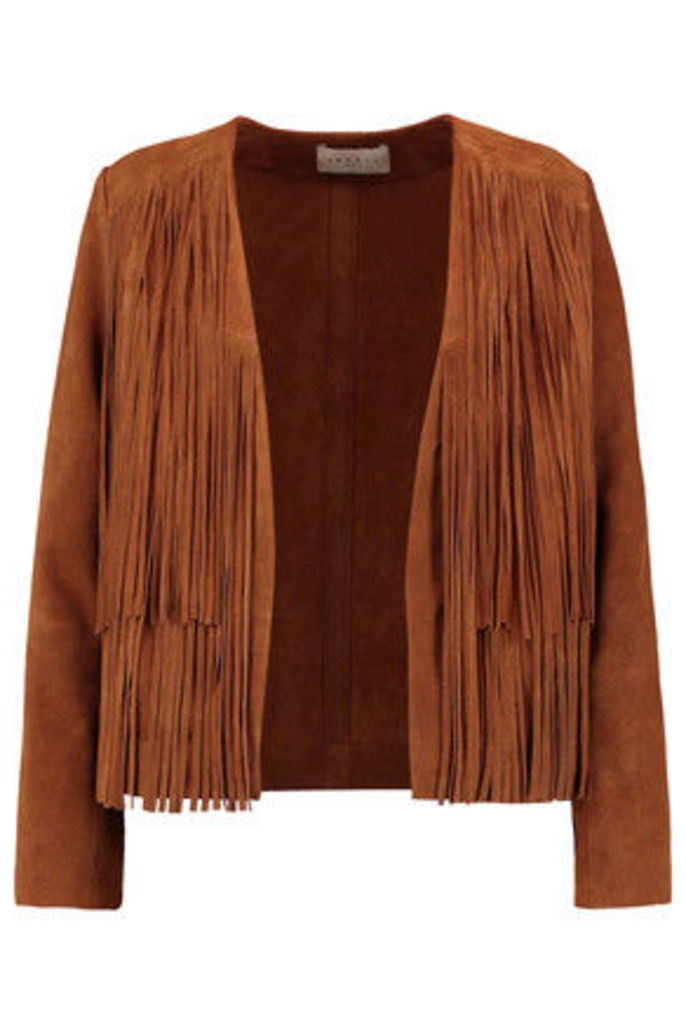 Sandro - Victor Fringed Suede Jacket - Light brown