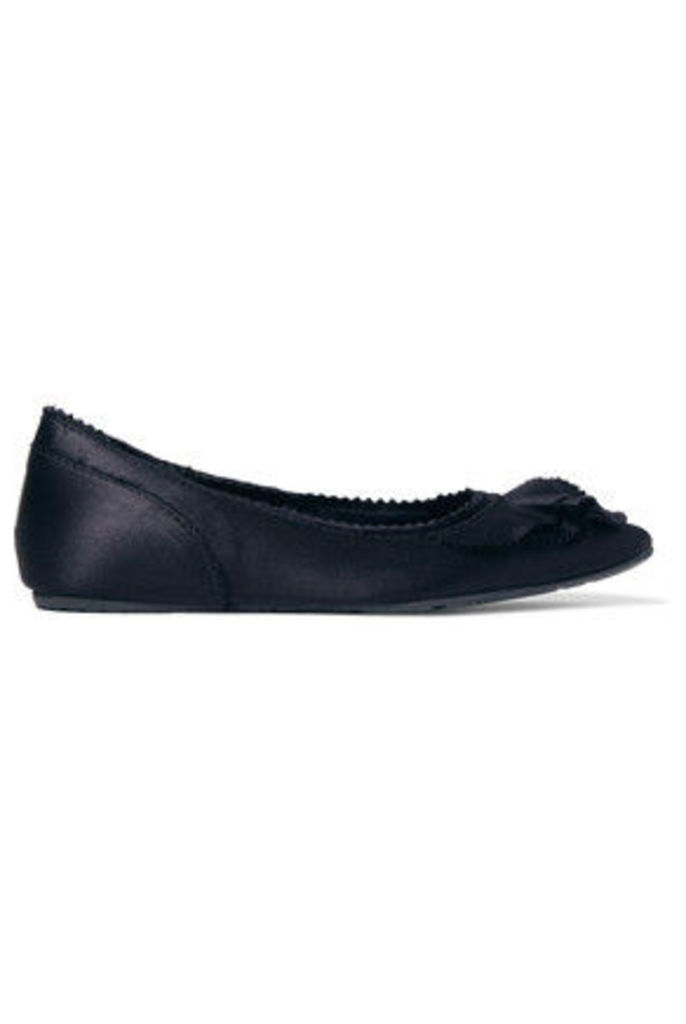 Pedro Garcia - Albany Layered Silk-satin Ballet Flats - Midnight blue