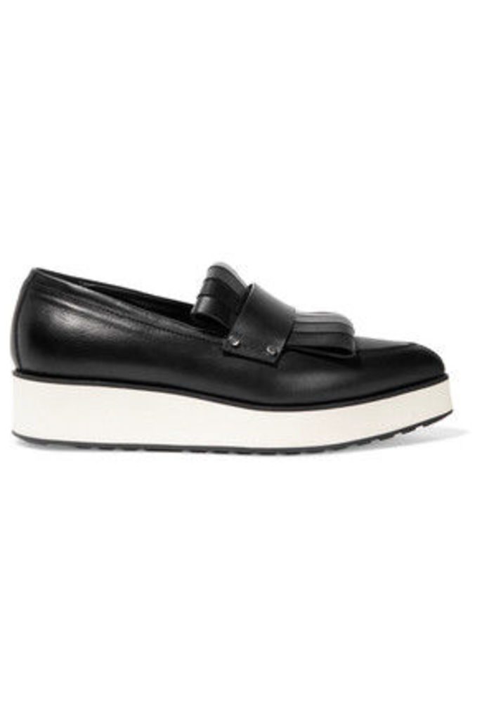 McQ Alexander McQueen - Fringed Leather Platform Loafers - Black