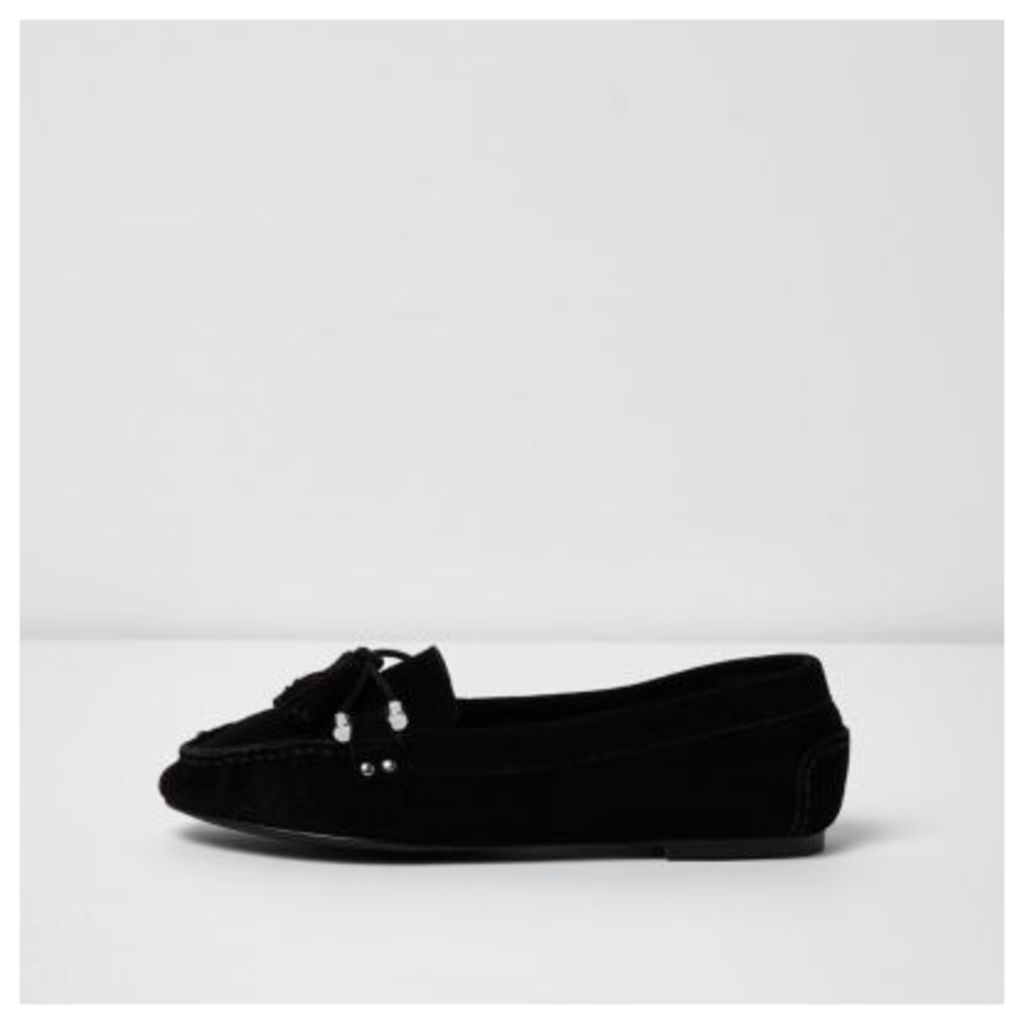 River Island Womens Black suede tassel mocassin loafers