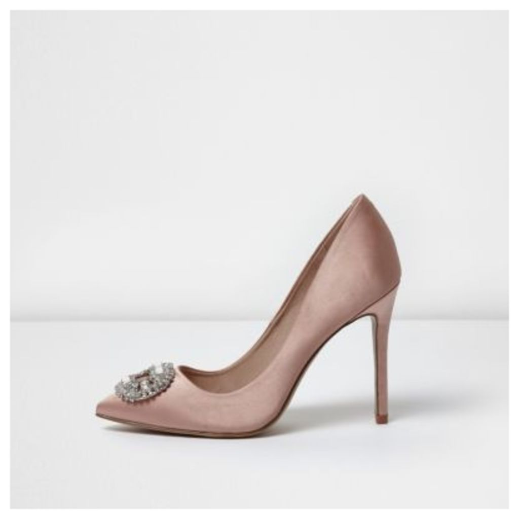 River Island Womens Light Pink satin embellished court shoes