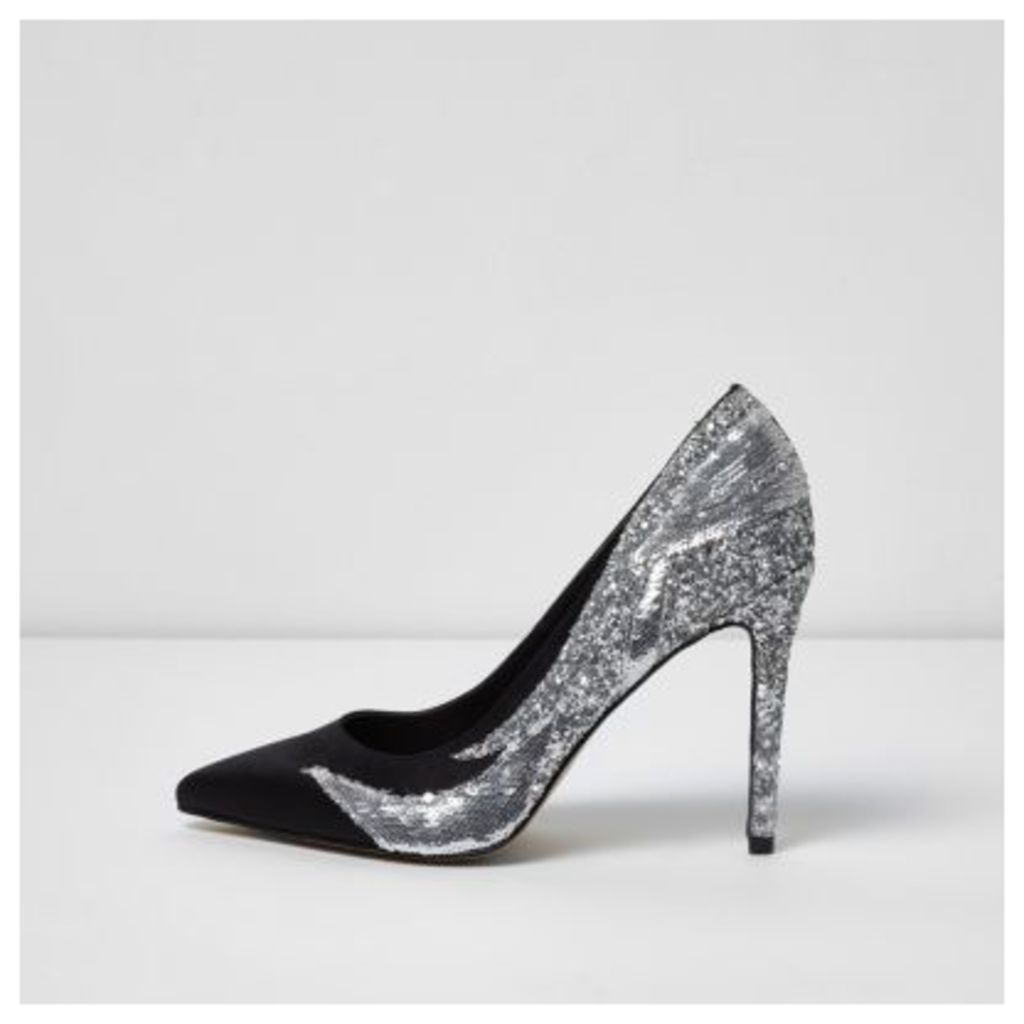 River Island Womens Black sequin and glitter court shoes
