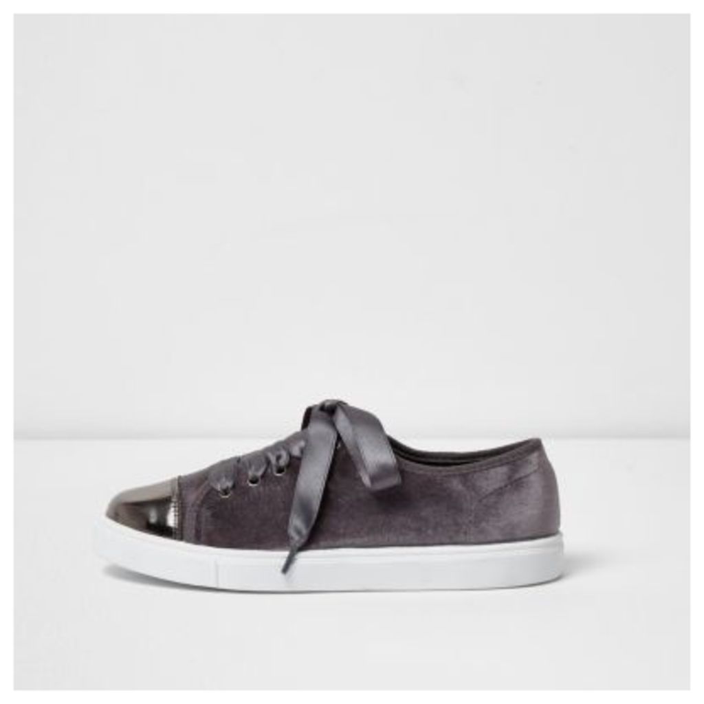 River Island Womens Grey velvet lace-up ribbon trainers