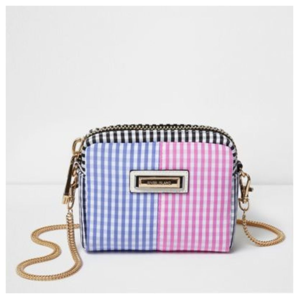 River Island Womens Blue gingham print mini cross body chain bag