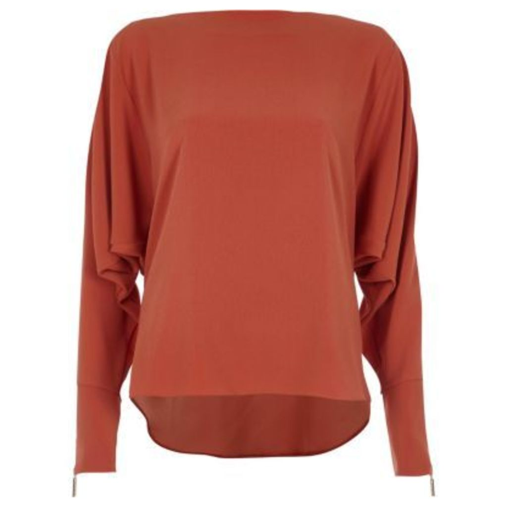 River Island Womens Copper Brown long sleeve batwing top