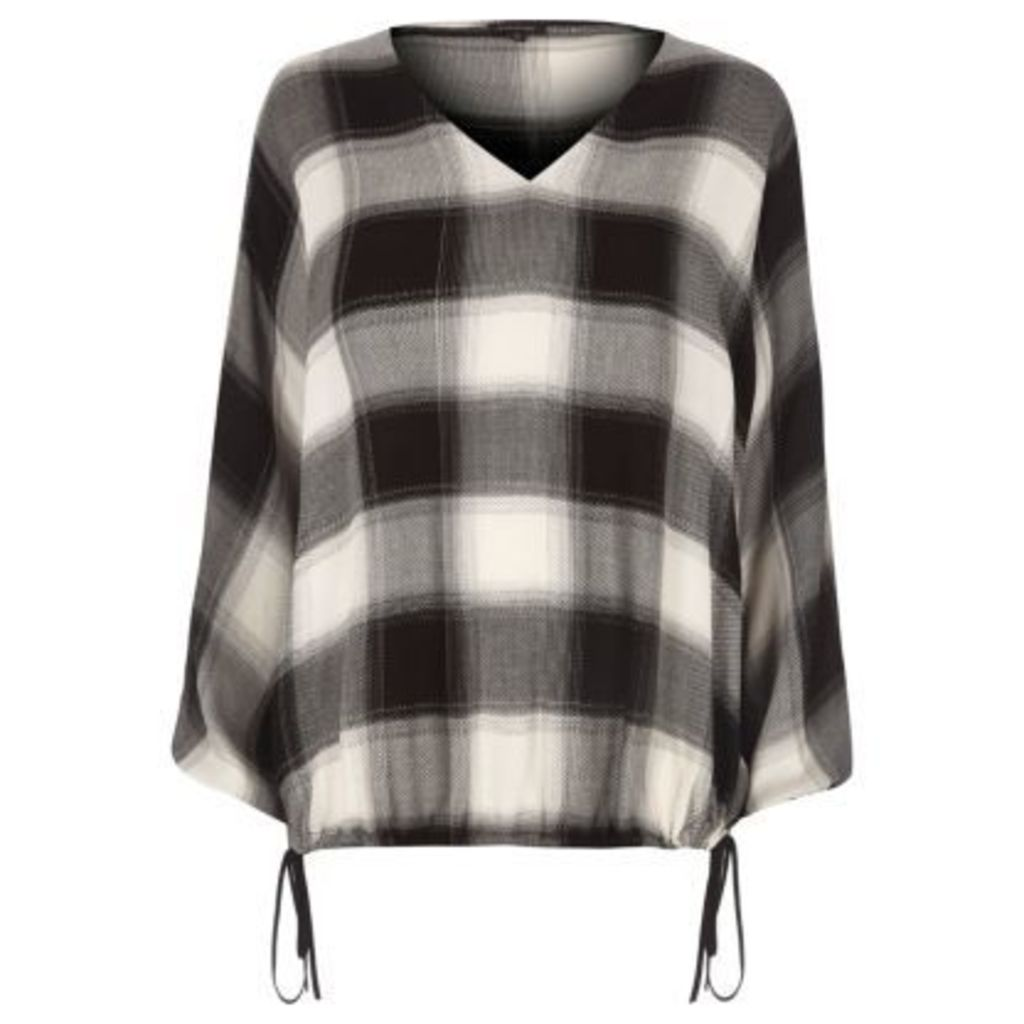 River Island Womens Black check split sleeve ruched hem top