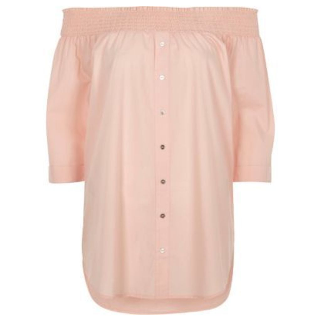 River Island Womens Light Pink shirred bardot button front top