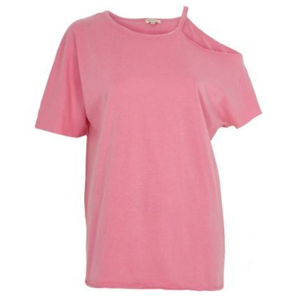 River Island Womens Pink washed one shoulder T-shirt