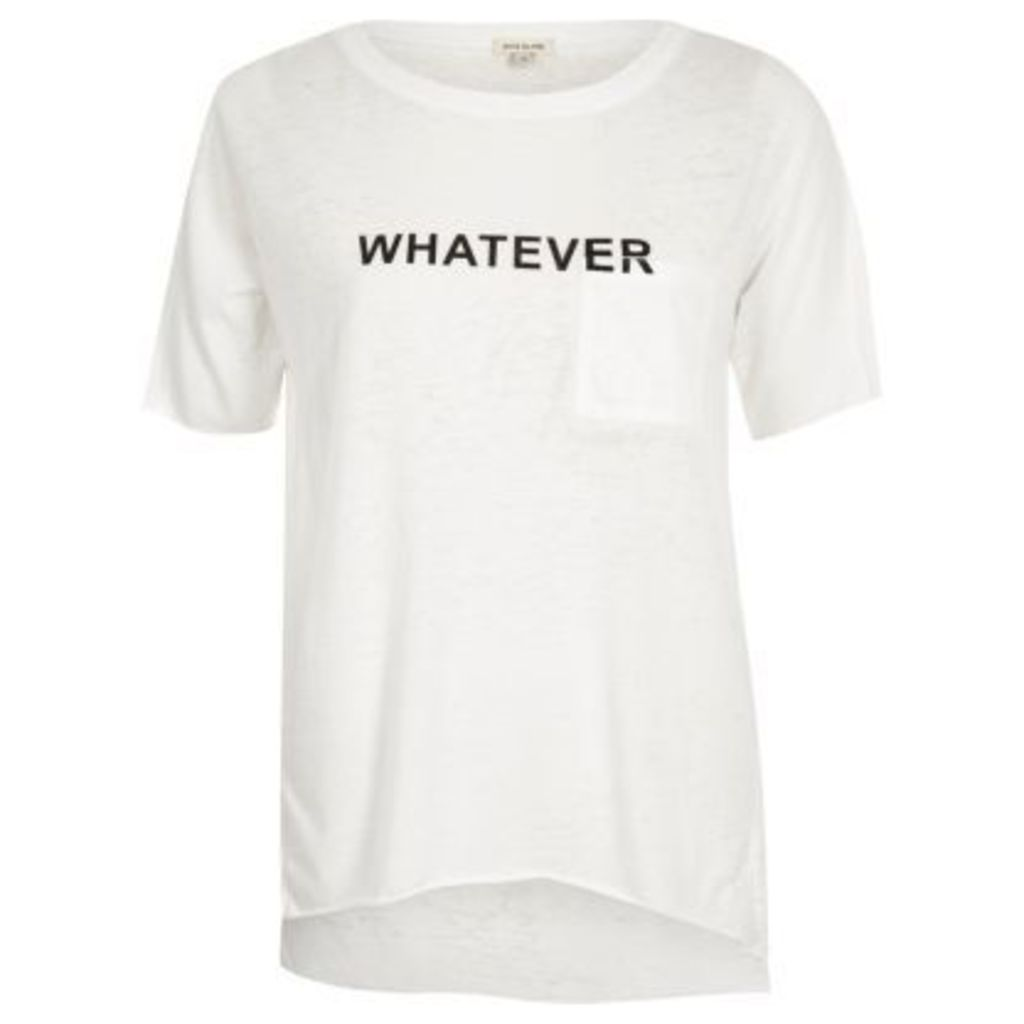 River Island Womens White word print T-shirt