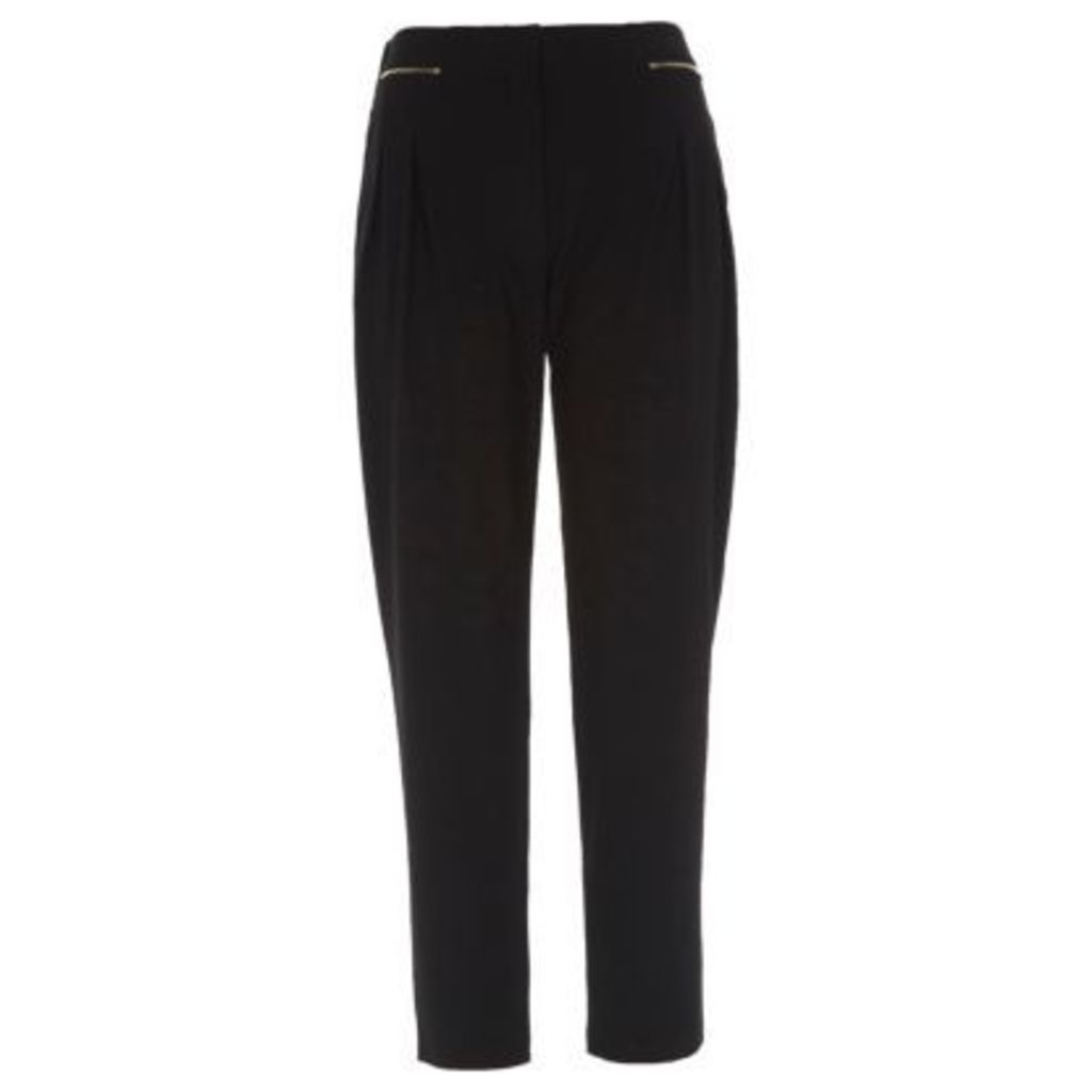 River Island Womens Black zip front tapered trousers