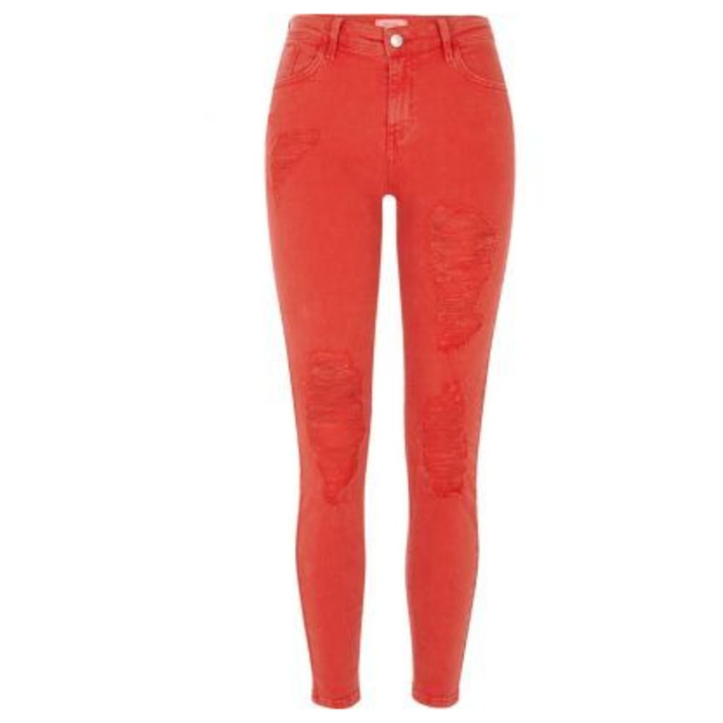 River Island Womens Red Amelie super skinny fit jeans