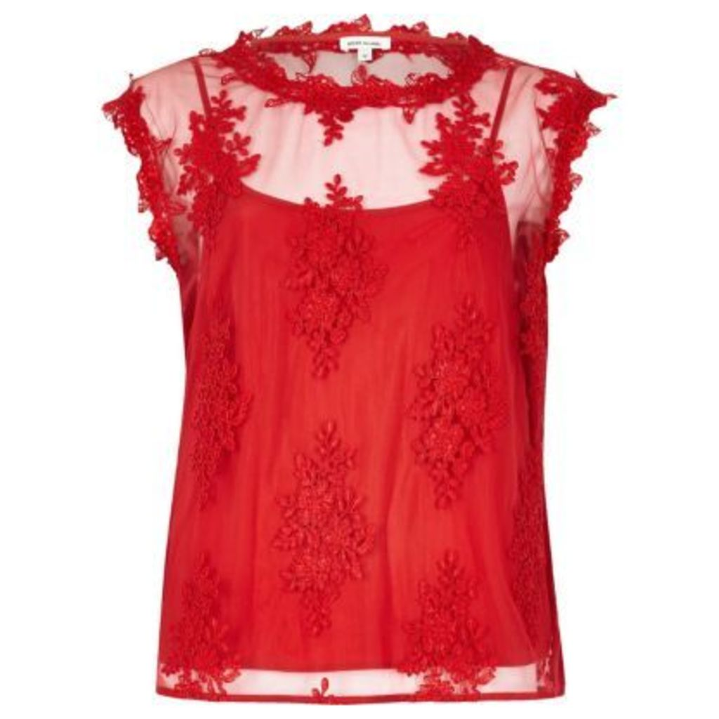 River Island Womens Red floral applique top