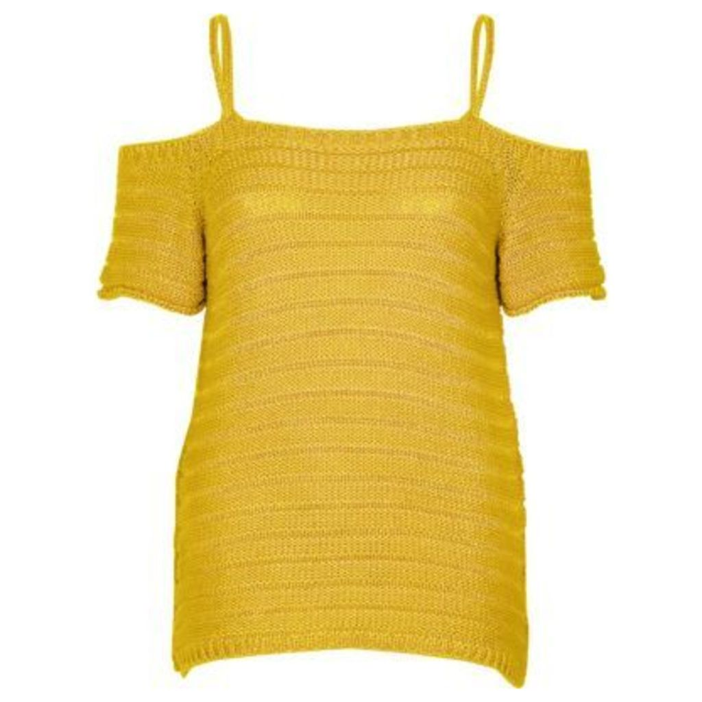 River Island Womens Dark Yellow knit cold shoulder top