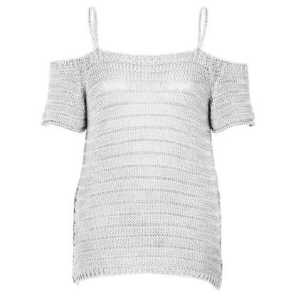 River Island Womens White knit cold shoulder top