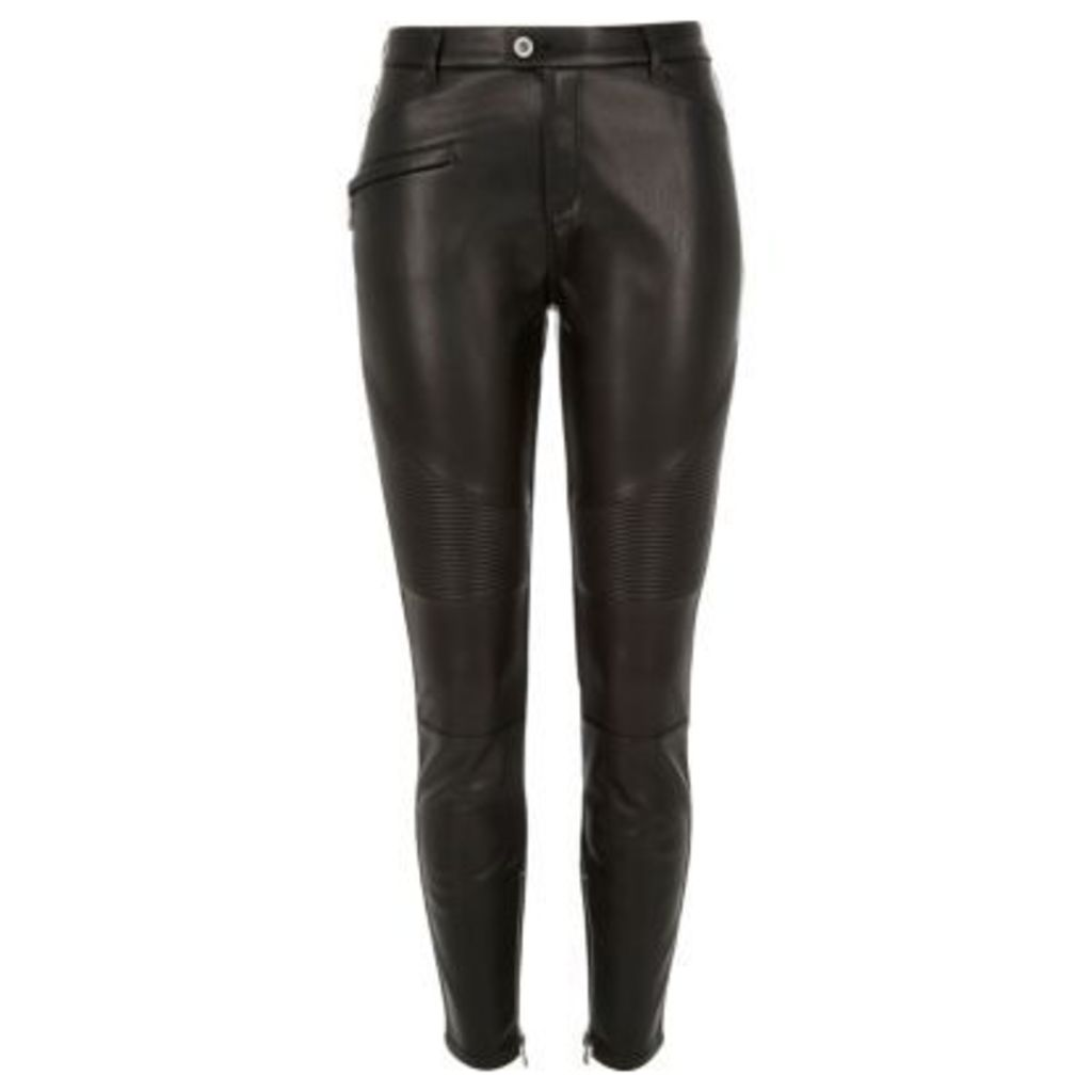 River Island Womens Black leather look biker trousers
