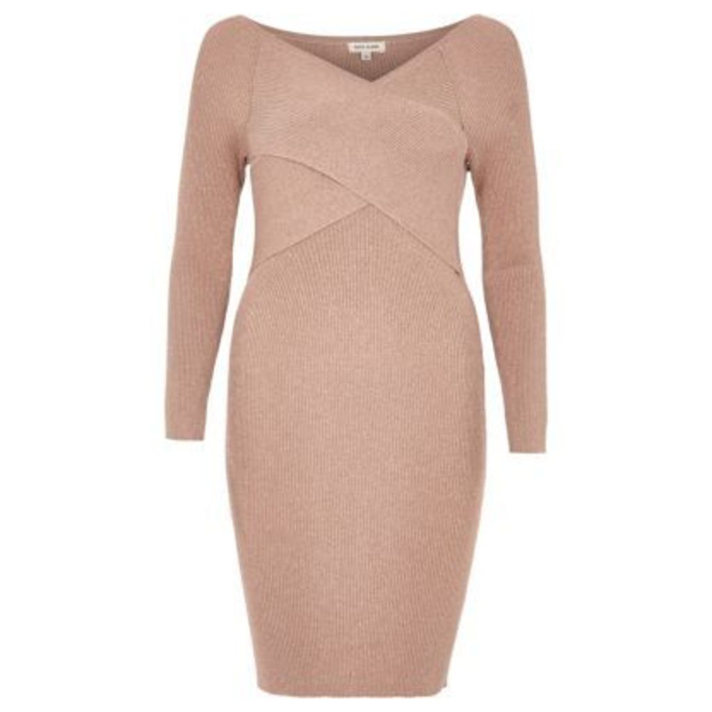 River Island Womens Blush Pink sparkly wrap bodycon dress