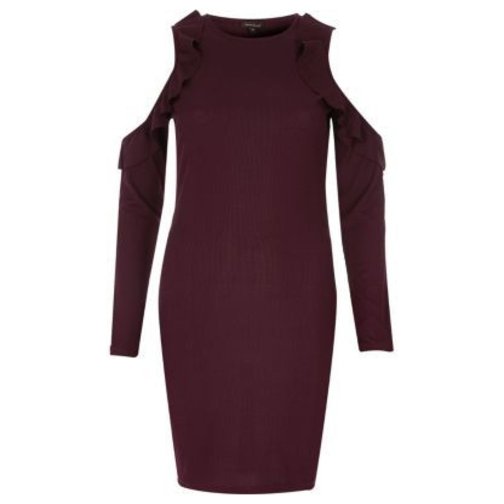 River Island Womens Burgundy frill cold shoulder bodycon dress