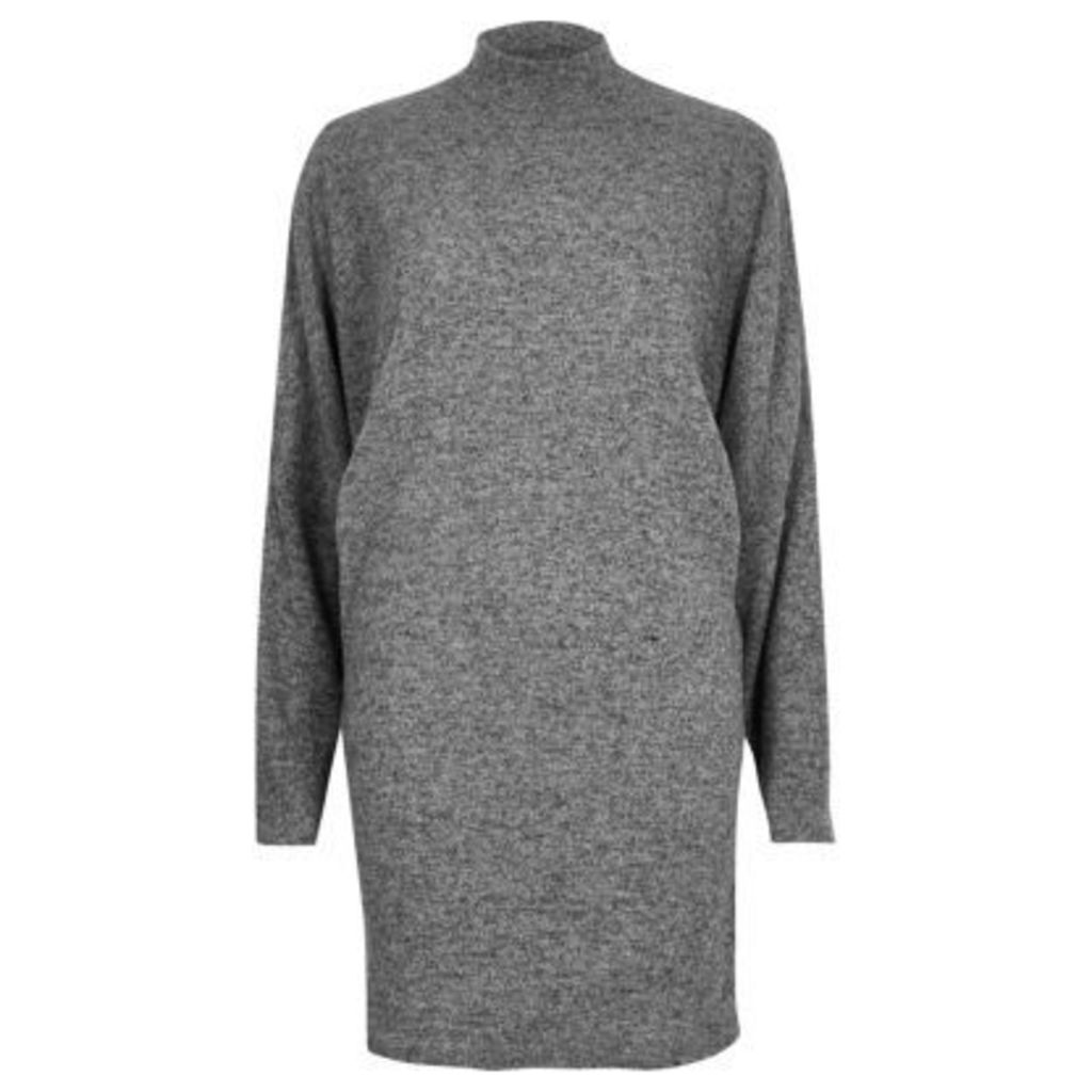 River Island Womens Light Grey turtleneck dress