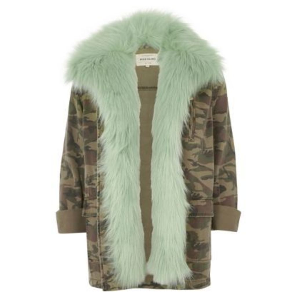 River Island Womens Khaki camo mint faux fur lined army jacket